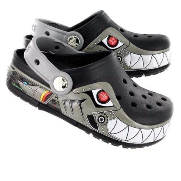 Kids Light Up Robo Shark Crocs